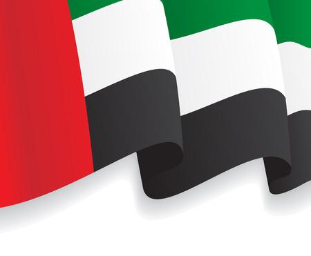 Fondo con la bandera ondeando Emiratos Árabes Unidos. Vector