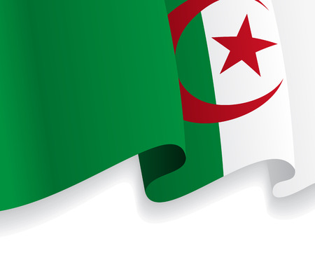 Background with waving Algerian Flag. Vector Vector