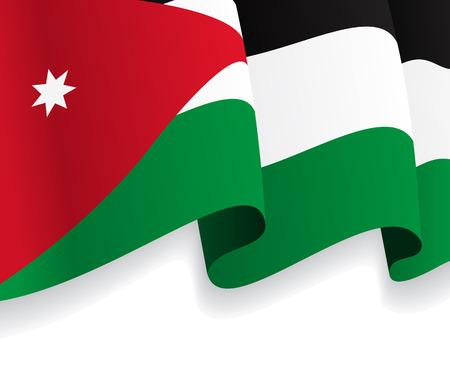 jordanian: Achtergrond met golvende Vlag van Jordanië. Vector Stock Illustratie