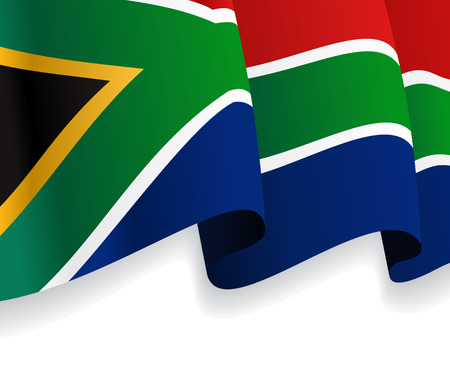 Background with waving South Africa Flag. Vector