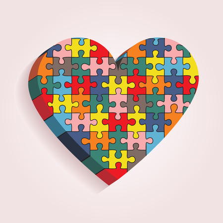 Abstract heart made of puzzle pieces. Vector Vector