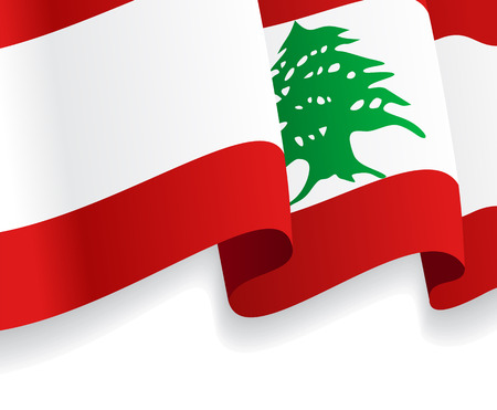 Background with waving Lebanese Flag. Vector illustration Vector