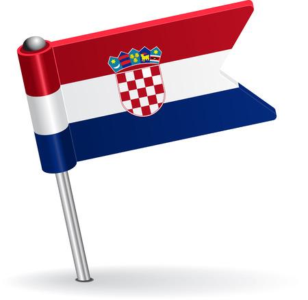 Croatian pin icon flag. Vector illustration Vector