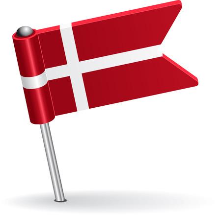 Danish pin icon flag. Vector illustration Vector