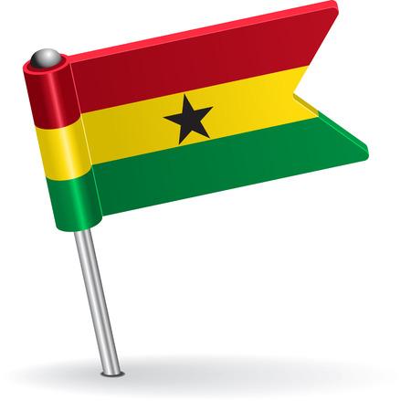 pinning: Ghana pin icon flag. Vector illustration