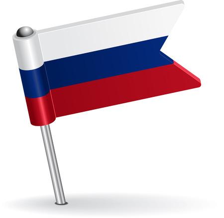 pinning: Russian pin icon flag. Vector illustration