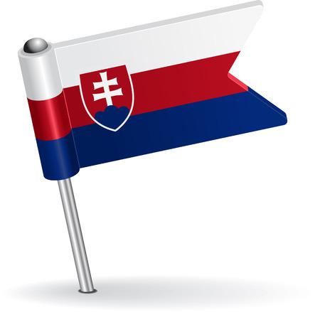 pinning: Slovak pin icon flag. Vector illustration Eps 8.