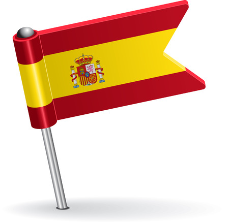 pinning: Spanish pin icon flag. Vector illustration Eps 8. Illustration