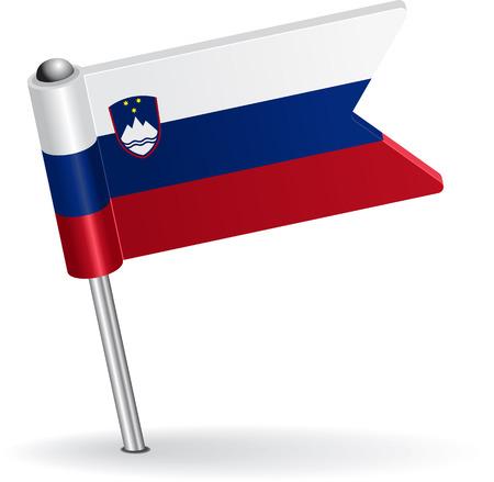pinning: Slovenian pin icon flag. Vector illustration Eps 8.