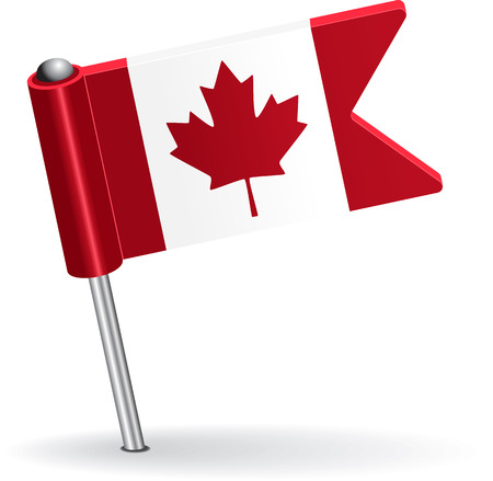 pinning: Canadian pin icon flag. Vector illustration Eps 8. Illustration