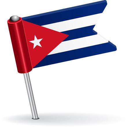 cubana: Cuba bandera icono pin. Ilustraci�n vectorial Eps 8.