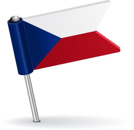 prick: Czech pin icon flag. Vector illustration Eps 8.