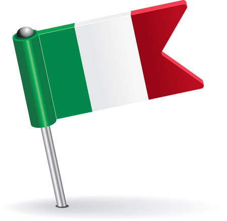 flag of italy: Italian pin icon flag. Vector illustration Eps 8.