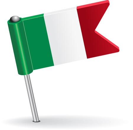 italy flag: Italiano bandera icono pin. Ilustración vectorial Eps 8.