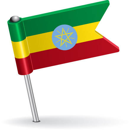 prick: Ethiopian pin icon flag. Vector illustration Eps 8.
