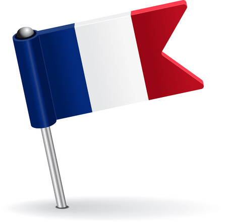 eps icon: French pin icon flag. Vector illustration Eps 8.