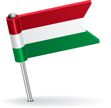pinning: Hungarian pin icon flag. Vector illustration Eps 8.