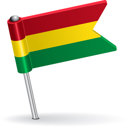 pinning: Bolivian pin icon flag. Vector illustration Eps 8.