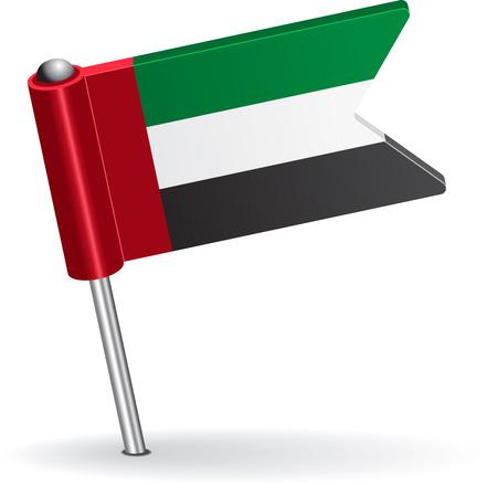 pinning: United Arab Emirates pin icon flag. Vector illustration Eps 8.