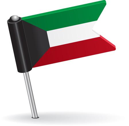 pinning: Kuwait pin icon flag. Vector illustration Eps 8.