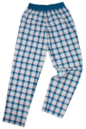 striped pajamas: Checkered pijama sweatpants isolated on white Stock Photo