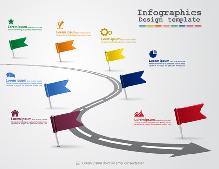 Infographics with elements and icons. Vector Vettoriali