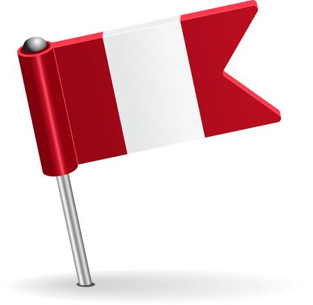 pinning: Peru pin icon flag. Vector illustration