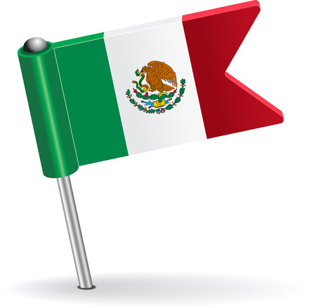 pinning: Mexico pin icon flag. Vector illustration
