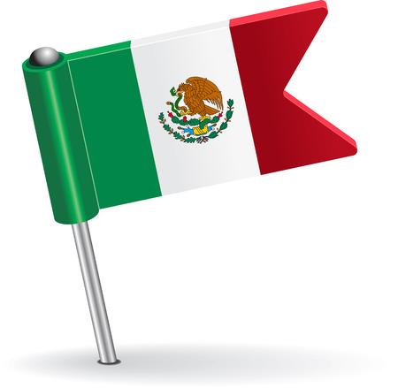 prick: Mexico pin icon flag. Vector illustration
