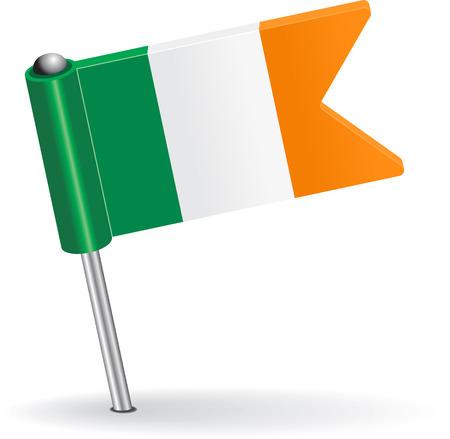 pinning: Irish pin icon flag. Vector illustration