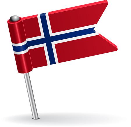 pinning: Norwegian pin icon flag. Vector illustration Illustration
