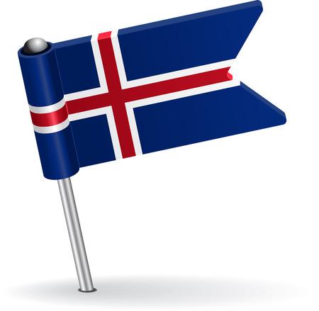 pinning: Icelandic pin icon flag. Vector illustration