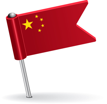 prick: Chinese pin icon flag. Vector illustration