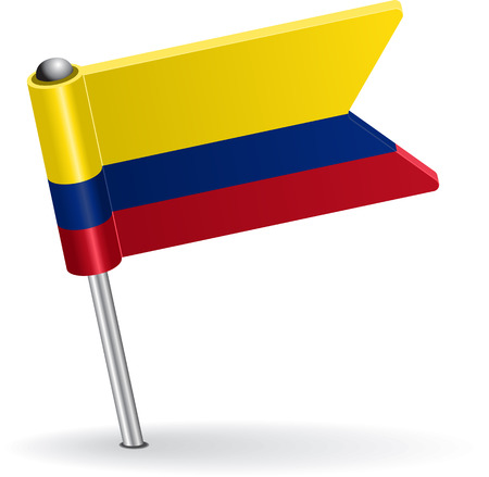 pinning: Colombia pin icon flag. Vector illustration