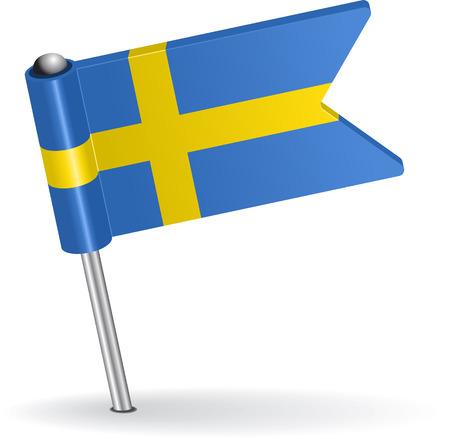 swedish: Swedish pin icon flag. Vector illustration