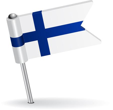 suomi: Finnish pin icon flag. Vector illustration Illustration