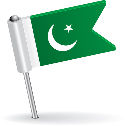 pakistani: Pakistani pin icon flag. Vector illustration
