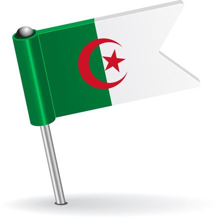 Algierski: Flaga Algierii pin ikona. Ilustracji wektorowych