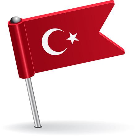 pinning: Turkish pin icon flag. Vector illustration Illustration