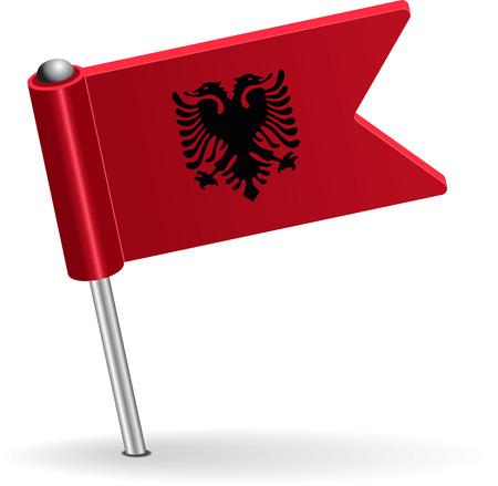 pinning: Albanian pin icon flag. Vector illustration