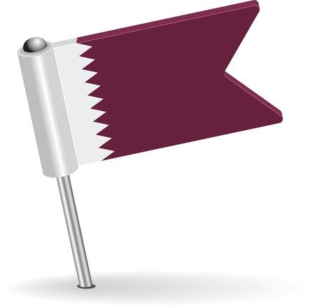 pinning: Qatar pin icon flag. Vector illustration