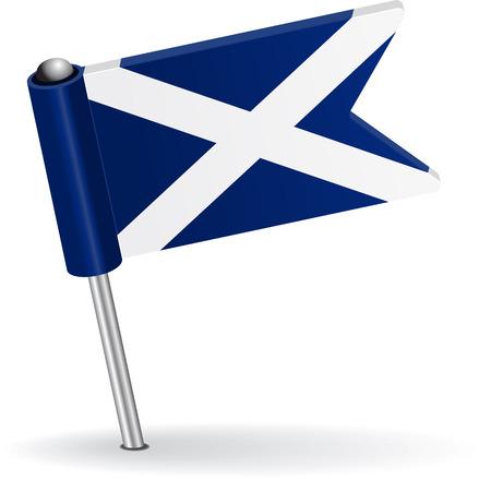 pinning: Scottish pin icon flag. Vector illustration