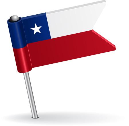 chilean flag: Chilean pin icon flag. Vector illustration