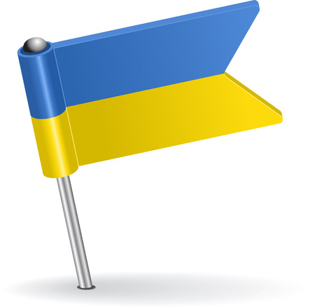Ukrainian pin icon flag. Vector illustration