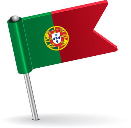 prick: Portuguese pin icon flag. Vector illustration