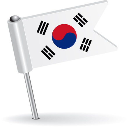 pinning: South Korea pin icon flag. Vector illustration Illustration