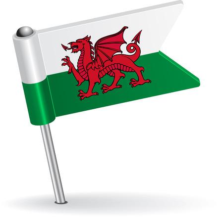 welsh flag: Welsh flag icon pin. Illustrazione vettoriale Vettoriali