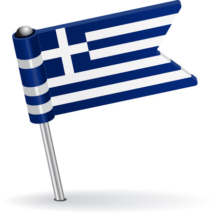 prick: Greece pin icon flag. Vector illustration