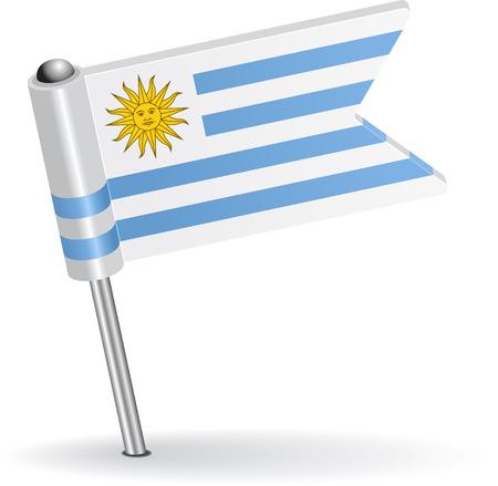 pinning: Uruguay pin icon flag. Vector illustration