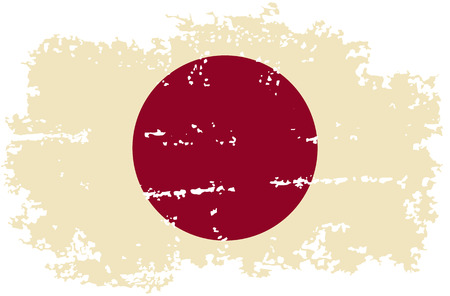 cleaned: Japanese grunge flag. Vector illustration. Grunge effect can be cleaned easily.